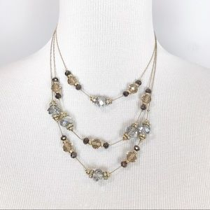 NWT WHBM 3 Tiered Beaded Necklace